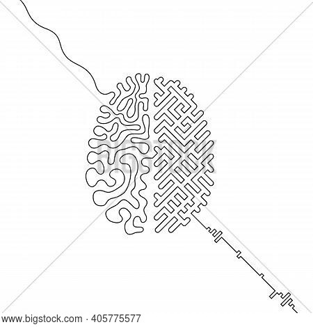 Human Brain Vs Artificial Intelligence Continuous Line Drawing Concept, Ai And Organic Brain Hemisph