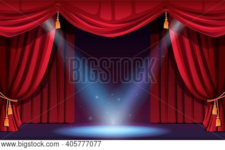 Classic Stage With Curtains And Spotlights. Festive Scene With Lights And Projectors. Concert, Dance
