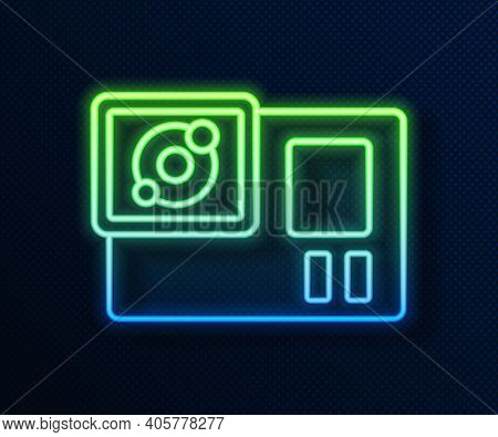 Glowing Neon Line Action Extreme Camera Icon Isolated On Blue Background. Video Camera Equipment For