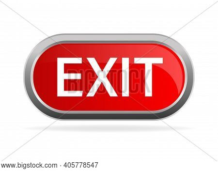 Emergency Red Exit Sign. Protection Symbol. Fire Icon. Vector Stock Illustration.