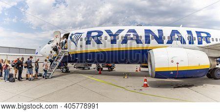 Vienna, Austria - May 09, 2019: Passengers Boarding Ryanair Flight From Santiago Spain To Milano Ita