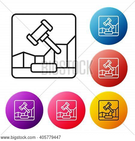 Black Line Online Internet Auction Icon Isolated On White Background. International Trade Concept. I