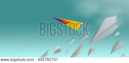 Different, Leader Individuality Concept. Unique Paper Plane Flying Up In The Sky While The Group Of