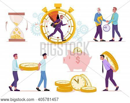 Set Of Time And Money Concept. Vector Sandglass With Golden Coins, Man Running In Stopwatch, Old And