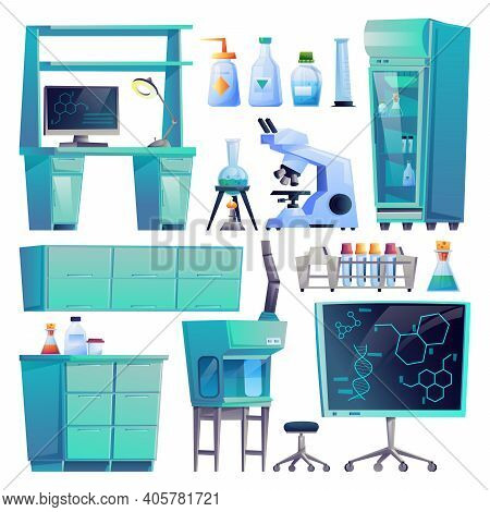 Laboratory Equipment Set Isolated Medical Furniture, Diagnostic Computers And Test Tubes. Vector Pha