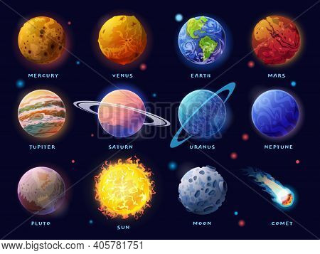 Solar System Planets Set. Moon, Sun And Comet Icons Isolated On Starry Sky Background. Vector Outer