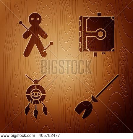 Set Witches Broom, Voodoo Doll, Dream Catcher With Feathers And Ancient Magic Book On Wooden Backgro