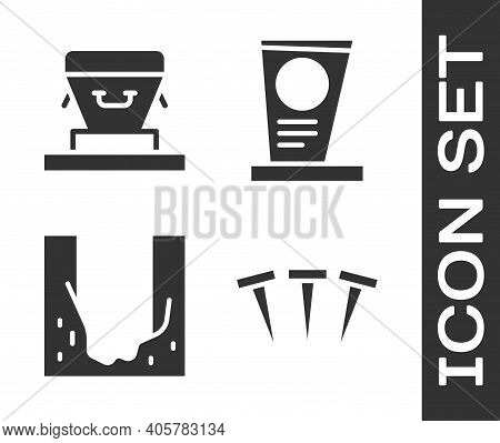 Set Metallic Nails, Coffin, Cemetery Digged Grave Hole And Grave With Tombstone Icon. Vector