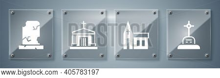 Set Grave With Cross, Church Building, Old Crypt And Old Grave With Tombstone. Square Glass Panels.