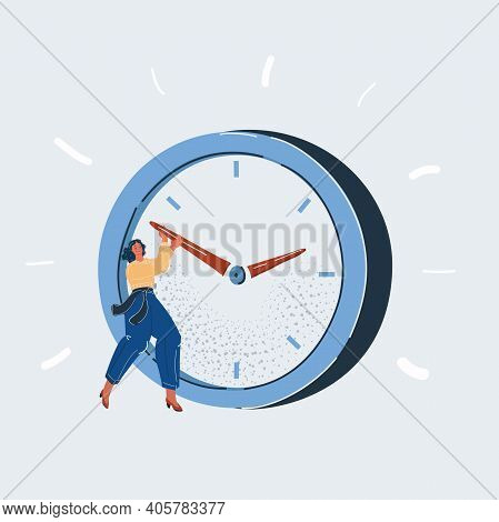 Vector Illustration Of Time Management Concept. Woman Trying To Delay Time On Big Giant Clock.