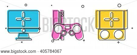 Set Computer Monitor, Game Console With Joystick And Portable Video Game Console Icon. Vector