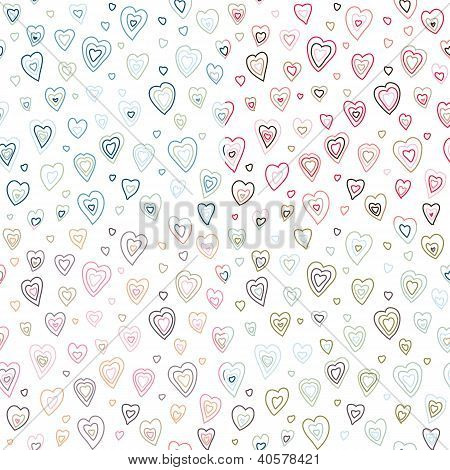 Seamless hearts fifties retro stroke design pattern