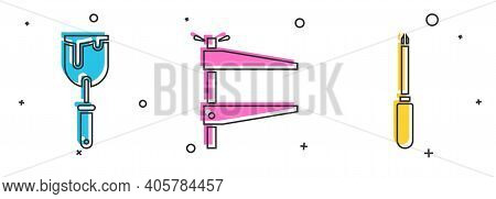 Set Putty Knife, Clamp Tool And Screwdriver Icon. Vector