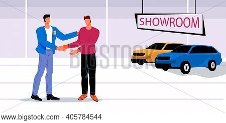 Car Purchase Scene With Seller And Buyer Cartoon Characters Handshaking When Concluding A Deal In A