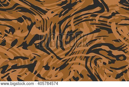 Tiger Seamless Camo Pattern. Brown Orange Coloring Camouflage, Modern Fabric Print. Abstract Repeati