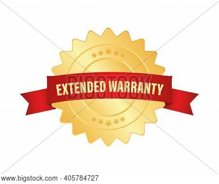 Vintage Extended Warranty, Great Design For Any Purposes. 3d Gold Illustration On White Backdrop. Ve