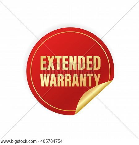 Vintage Extended Warranty Sticker, Great Design For Any Purposes. 3d Gold Illustration On White Back