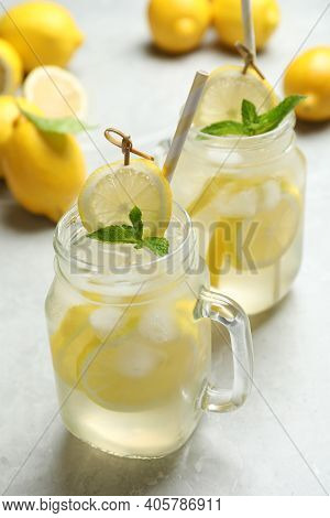 Natural Lemonade With Mint On Light Grey Marble Table. Summer Refreshing Drink