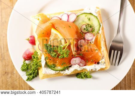 waffle with smoked salmon and vegetable
