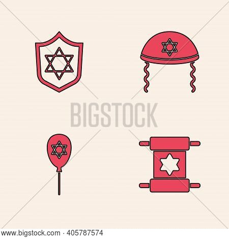 Set Torah Scroll, Shield With Star Of David, Jewish Kippah And Balloon Star David Icon. Vector