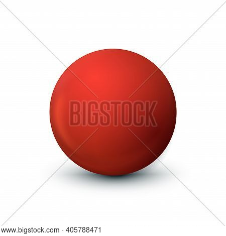 Soft Red Sphere With A Touch Of Coral And Fiery Orange Tones. Ball Isolated On White. Matt Mock Up O