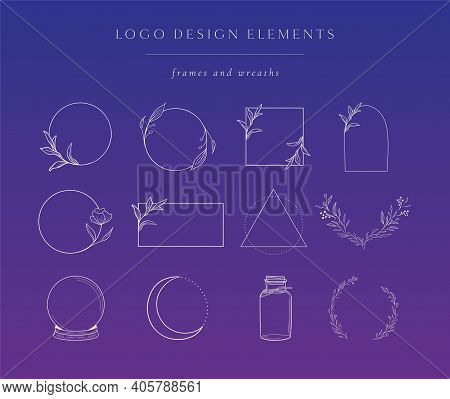 Vector Geometric Floral Frames, Borders And Wreaths