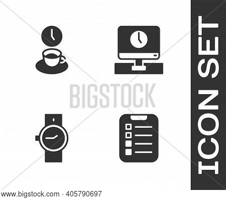 Set To Do List Or Planning, Coffee Time, Wrist Watch And Monitor Icon. Vector