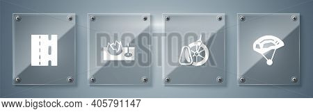 Set Bicycle Helmet, Parking, On Street Ramp And Lane. Square Glass Panels. Vector