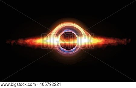 Black Hole With Singularity And Event Horizon Vector Illustration