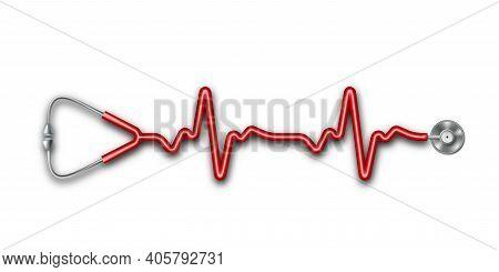 3d Stethoscope In Shape Of A Heart Beat On Ekg