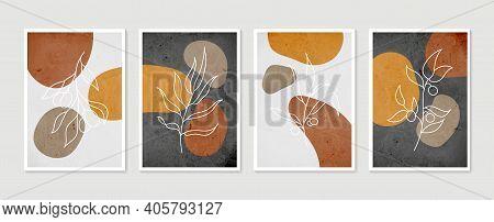 Botanical Wall Art Set. Minimal And Natural Wall Art. Boho Foliage Line Art Drawing With Abstract Sh
