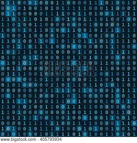 Simple Blue Binary Computer Code Seamless Pattern