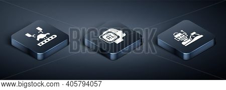 Set Isometric Robotic Robot Arm On Factory, Humanoid Driving Car And Humanoid Icon. Vector
