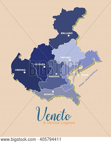 Veneto And Venice Lagoon Vector Map Divided Into Provinces With Major Cities