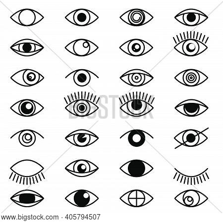 Eye Outline Set Icons. Close And Open Eyes Shapes With Lashes. Line Optical Vision Signs In Line Sty