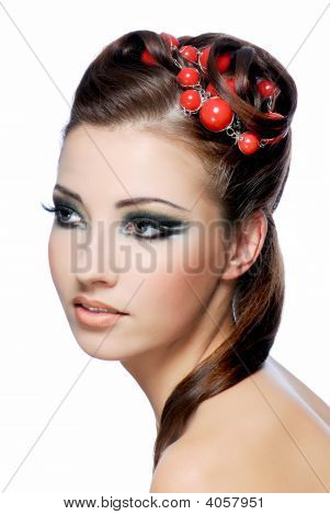 Beauty Hairstyle And Stylish Make-Up