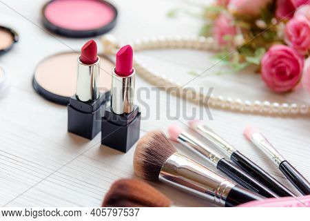 Select Focus. Valentine Gift. Makeup Cosmetics Tools Background And Beauty Cosmetics, Products And F