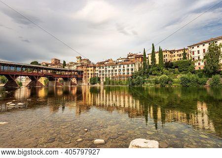 Cityscape Of Bassano Del Grappa With The Bridge Of The Alpini (ponte Degli Alpini Or Ponte Vecchio)