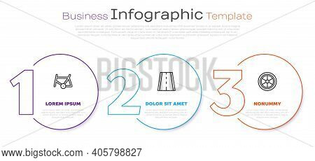 Set Line Bicycle Frame, Lane And Wheel. Business Infographic Template. Vector