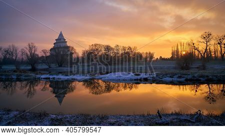 View Over The River Alte Elbe To The Jahrtausendturm On The Outskirts Of The City Of Magdeburg In Ge