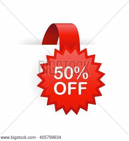 50 Percent Off Red Badge Isolated On White Background. Red Label, Banner For Any Purposes. Vector Il