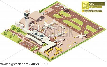 Vector Isometric Airport Terminal Infrastructure. Parked Airplanes With Boarding Bridges, Postal Ser
