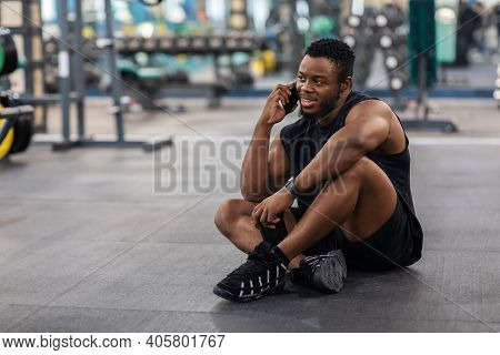 Smiling African American Athletic Man Resting After Workout In Gym, Copy Space. Muscular Black Guy S