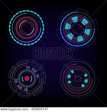 Set Of Hud Circles Technology Circles Elements On Dark Blue Background. Abstract Futuristic Technolo