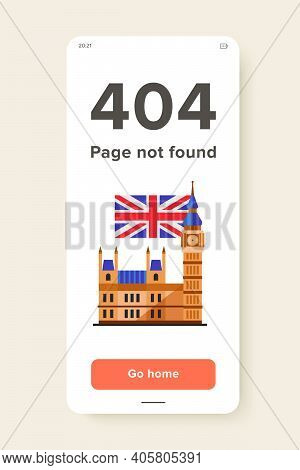 Icon Of Big Ben And Flag Of The United Kingdom. Sightseeing, Architecture, Traveling. Symbol Of Lond