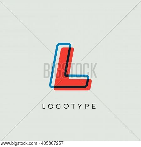 Stunning Letter L With 3d Color Contour, Minimalist Letter Graphic For Modern Comic Book Logo, Carto