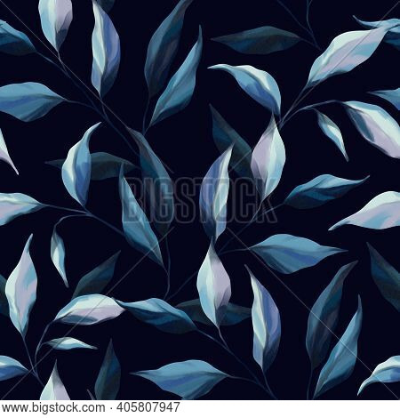 Indigo Watercolor Seamless Pattern With Tree, Branches, Palm Leaves, Forest Plants And Leaf On Navy