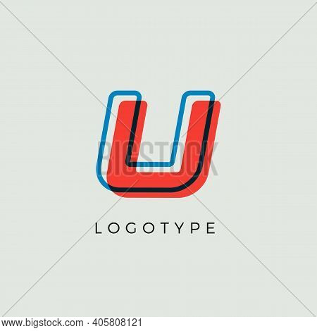 Stunning Letter U With 3d Color Contour, Minimalist Letter Graphic For Modern Comic Book Logo, Carto
