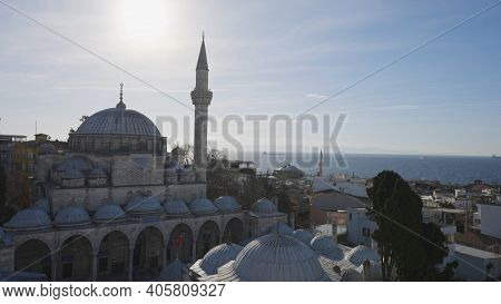 Beautiful Mosque In Istanbul On Background Of Sea. Action. Beautiful Historical Architecture And Mos