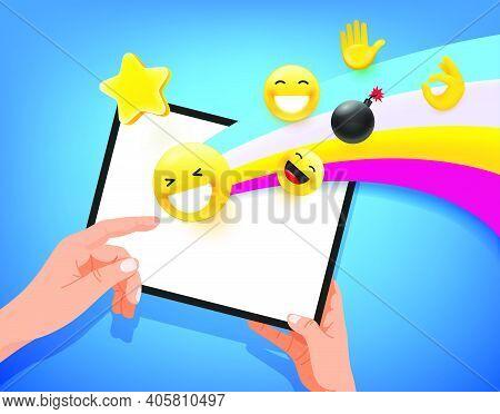 Man Using Modern Tablet Computer. Vector Illustration